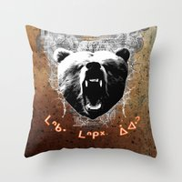 medicine Throw Pillows featuring Bear Medicine by Cree Thunder