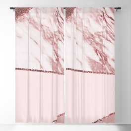 Spliced mixed pinks rose gold marble Blackout Curtain