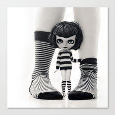 We love Socks in BW stripes Canvas Print
