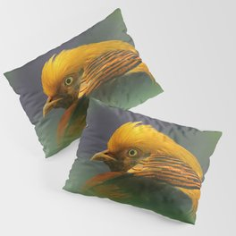 Emerging from the Green: Golden-Red Pheasant Pillow Sham