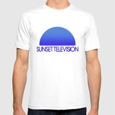 Sunset Television Logo Blue Mens Fitted Tee MEDIUM White