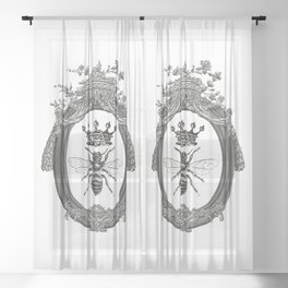 Queen Bee | Vintage Bee with Crown | Black, White and Grey | Sheer Curtain