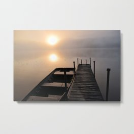 Foggy Adirondack Dawn: Sun, Boat, and Dock Metal Print