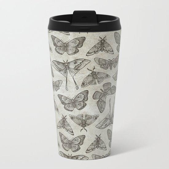 Lepidoptera Beige Metal Travel Mug