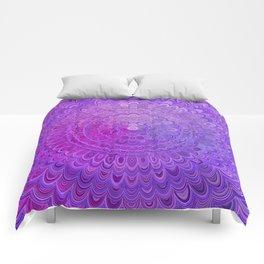 Mandala Flower in Violet Tones Comforters