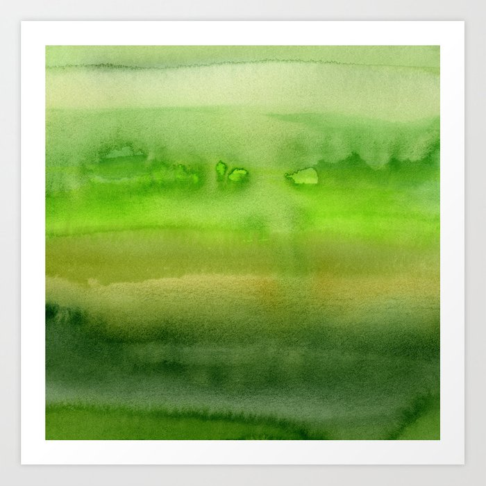 Spring Greens Abstract Watercolor Horizontal Pattern Art Print By Olechka