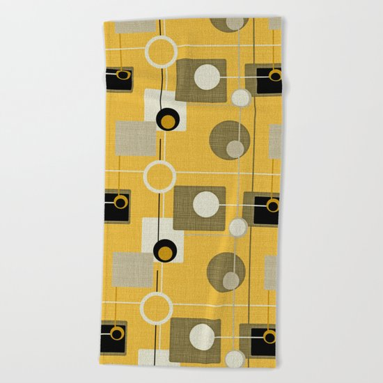 orbs and square gold yellow Beach Towel