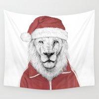 santa Wall Tapestries featuring Santa lion by Balazs Solti
