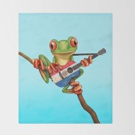 Tree Frog Playing Acoustic Guitar with Flag of Paraguay Throw Blanket