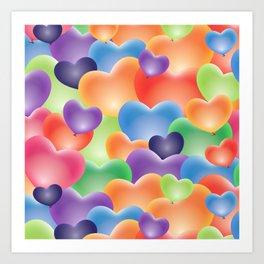 Valentine Balloon Hearts Art Print