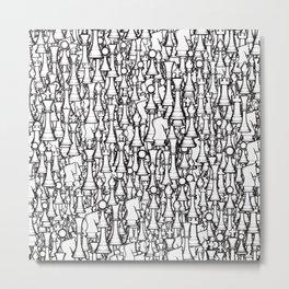 Chess Pattern II WHITE Metal Print