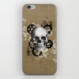 Skull With Gears and Floral Ornaments iPhone Skin
