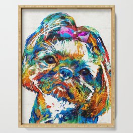 Colorful Shih Tzu Dog Art By Sharon Cummings Serving Tray