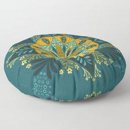 Sprouting Mandala – Teal Floor Pillow