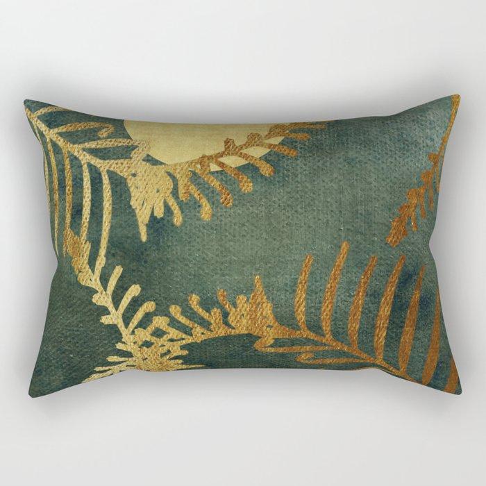 Golden Cycas leaves on dark green canvas Rectangular Pillow