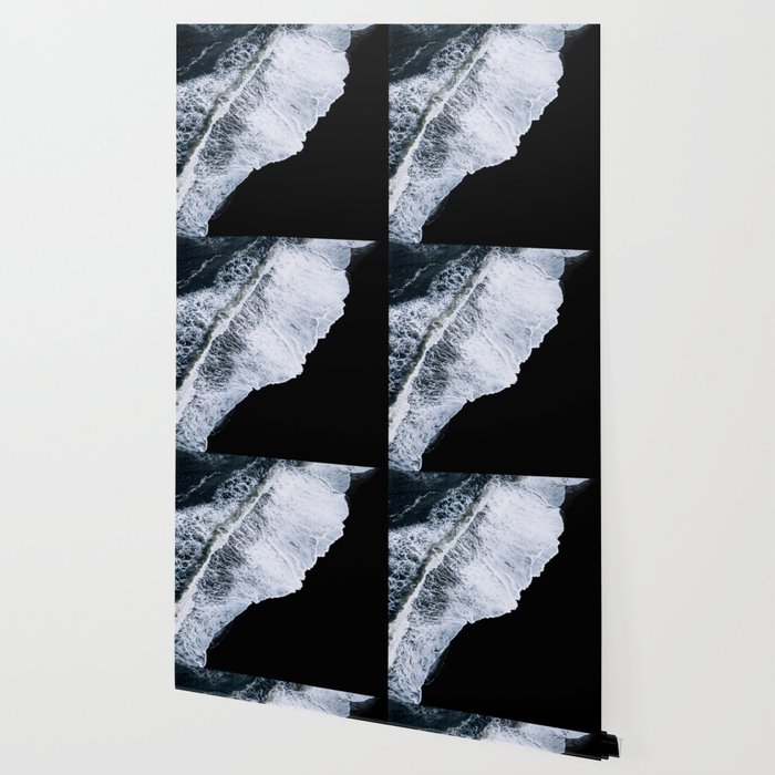Waves crashing on a black sand beach – minimalist Landscape Photography Wallpaper