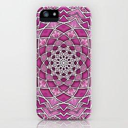 12-Fold Mandala Flower in Pink iPhone Case