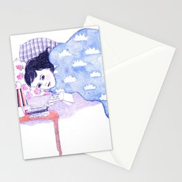 Birthday morning (with a glass of redcurrant juice) Stationery Cards
