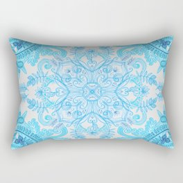 Symmetrical Pattern in Blue and Turquoise Rectangular Pillow