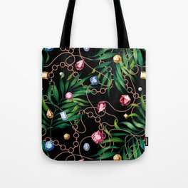 Glamorous Palm Black Tote Bag