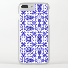 Classic European Blue Tiles Clear iPhone Case