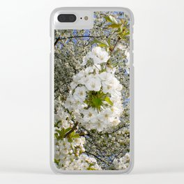 White Blossoms, Springtime Clear iPhone Case