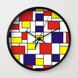 Homage to Mondrian in red blue and yellow Wall Clock