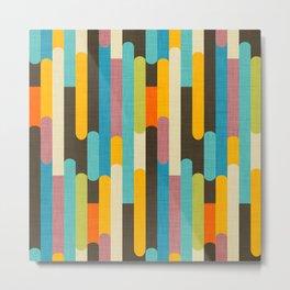 Retro Color Block Popsicle Sticks Blue Metal Print