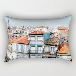 Traditional houses of Porto, with Clérigos Tower far in the distance. Rectangular Pillow