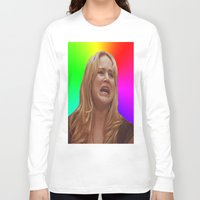 jennifer lawrence Long Sleeve T-shirts featuring Jennifer Lawrence Rainbow Derp by dashingfoxx