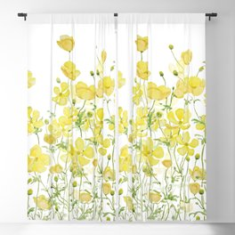 yellow buttercup flowers filed watercolor  Blackout Curtain