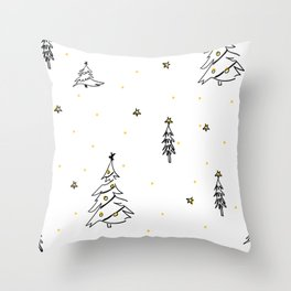 Modern Christmas Trees Sketch Black and White with Gold Stars Throw Pillow