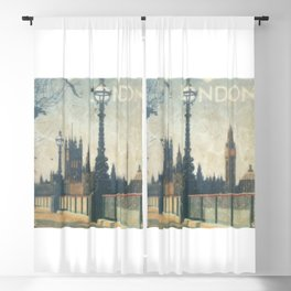 London Vintage skyline view of Westminster Abbey and Big Ben, painting from Victorian era Blackout Curtain