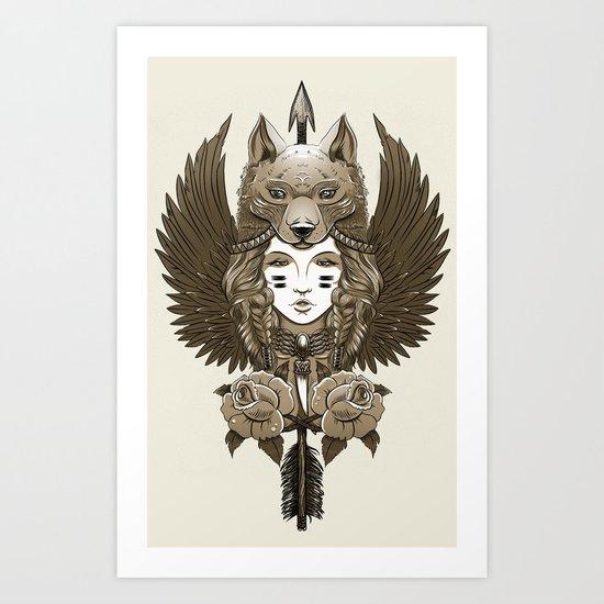 Native girl (light version) Art Print