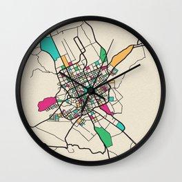 Colorful City Maps: Riyadh, Saudi Arabia Wall Clock