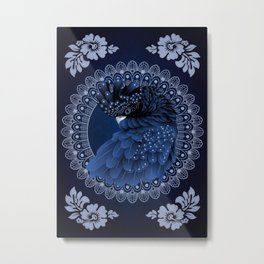 Decorative Australian Cockatoo in Blue Metal Print