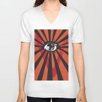 movie posters V-neck T-shirts featuring Vendetta Alternative movie poster by Sassan Filsoof