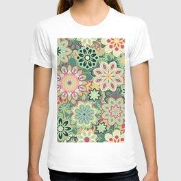 Retro kaleidoscope flower background pattern. Boho mandala ornate. T-shirt