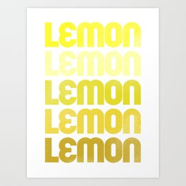 Repeating Lemon Typography Art Art Print