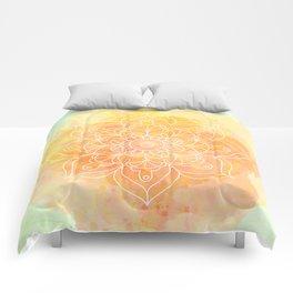 Watercolor Mandala // Sunny Floral Mandala Comforters