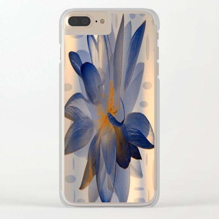 Midnight Blue Polka Dot Floral Abstract Clear iPhone Case