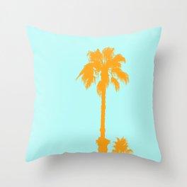 Orange palm trees silhouettes on blue Throw Pillow