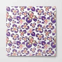 Cute Purple Floral Pattern Metal Print