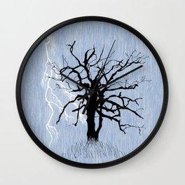 Gnarled Tree and Lightning Wall Clock