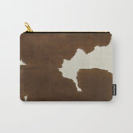 Dark Brown & White Cow Hide Carry-All Pouch