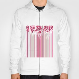 Red butterflies and pink striped leaves on a white background . Hoody