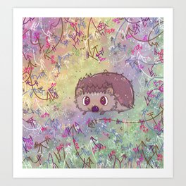 Happiest Little Hedgehog Art Print