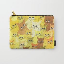 Golden Whimsical Cats Carry-All Pouch
