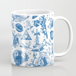 "Zelda ""Hero of Time"" Toile Pattern - Zora's Sapphire Coffee Mug"