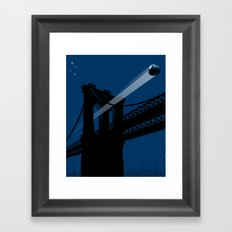 A UFO flies in Brooklyn Framed Art Print